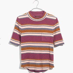 NWT. Madewell mock neck striped shirt tail tee